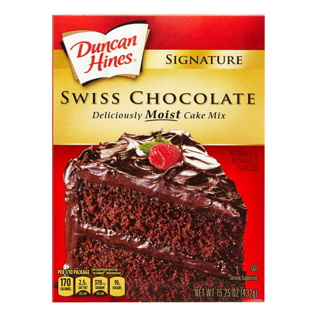 - (2 Pack) Duncan Hines Signature Swiss Chocolate Layer Cake Mix, 15.25 oz