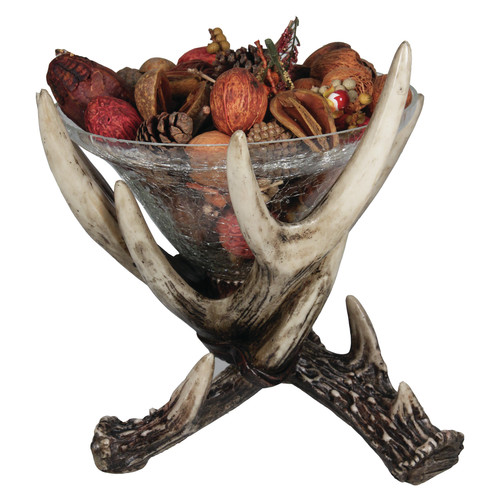 """Rivers Edge Products 10"""" x 10"""" Deer Antler Glass Dish"""