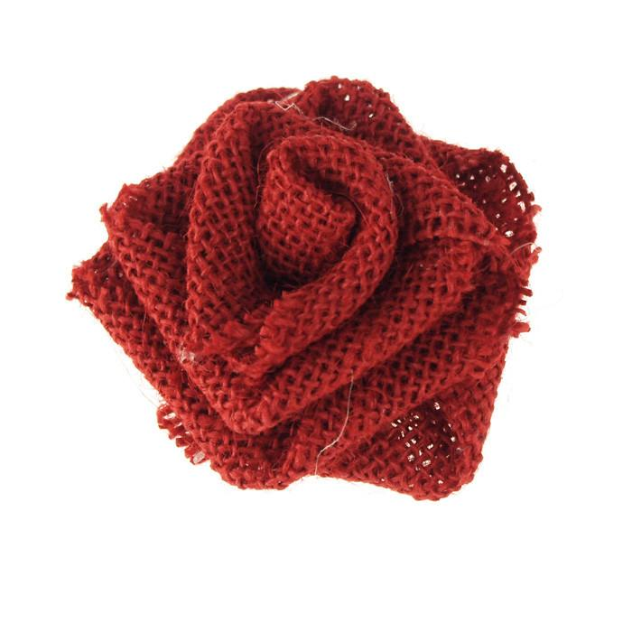 Burlap Rose Flower, 3-1/4-inch, Red