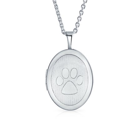 Etched Paw Dog Cat Puppy Kitten Paw Print Bff Pet Oval Shaped Locket Keepsake Pendant Necklace For Women Matte Silver