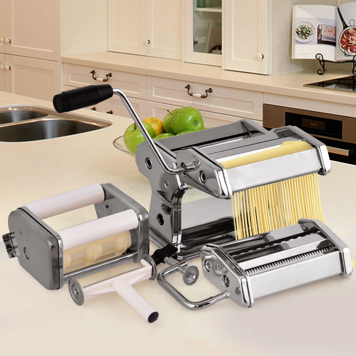 Costway 5 in 1 Stainless Steel Pasta Lasagna Spaghetti Tagliatelle Ravioli Maker Machine by Costway