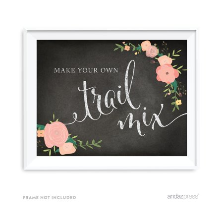 Build Your Own Trail Mix Chalkboard & Floral Roses Wedding Party Signs - Minted Wedding