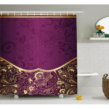 Eastern Shower Curtain, Oriental and Abstract Swirly Floral Frame Artistic Vintage, Fabric Bathroom Set with Hooks, Antique Fuchsia Pale Yellow Plum, by Ambesonne