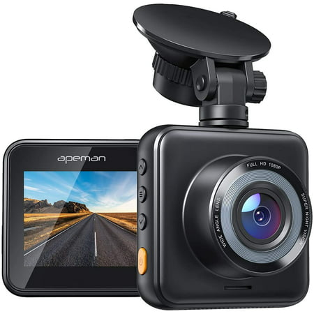Apeman Dash Camera for Cars 1080P Mini Dash Cam Car Security Camera with Night Vision, 170° Wide Angle, Motion Detection, Parking Monitoring, G-Sensor, Loop Recording, Support Micro 128GB Max, Black