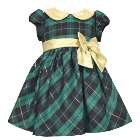 8a4dd809be72 Bonnie Jean Girls Green Tartan Plaid Holiday Dress 4T - Walmart.com