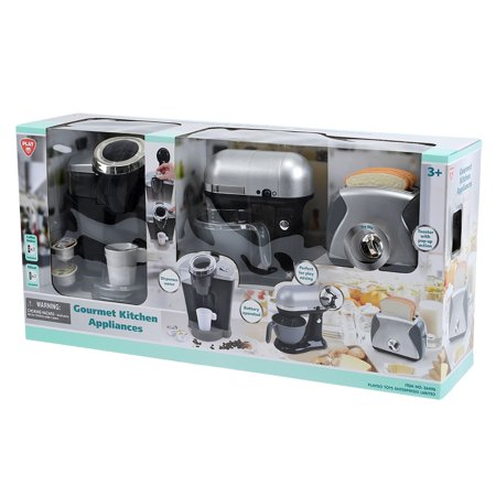 Gourmet Kitchen Appliances - Black This Gourmet kitchen appliances set includes a realistic coffee maker, mixer and toaster. These are perfect for introducing your children to cooking and the kitchen from age 3 and up. Encourage interaction between children through fun role-playing activities.