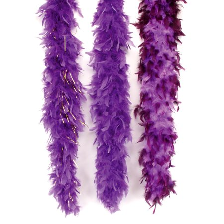 Star Power Gold Tinsel Long Fluffy Feather Boa, Purple Gold, 72