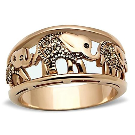 Elephant Ring Rose Gold Plated With Crystals - Ginger Lyne Collection