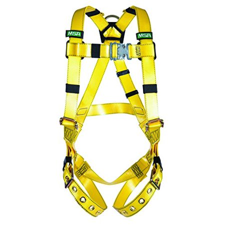 Midi Coated Buckle - MSA 10155870 Gravity Coated Web Harness, Vest-Type, Back D-Ring, Tongue Buckle Leg Straps, X-Small Size