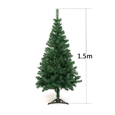 TKOOFN 1.5m Christmas Tree Pet Bare Tree Simulation Green DIY Christmas New Year Decorations with Stand Mall Festival Layout Deco PVC leaves Xmas - Diy Christmas Tree Stand