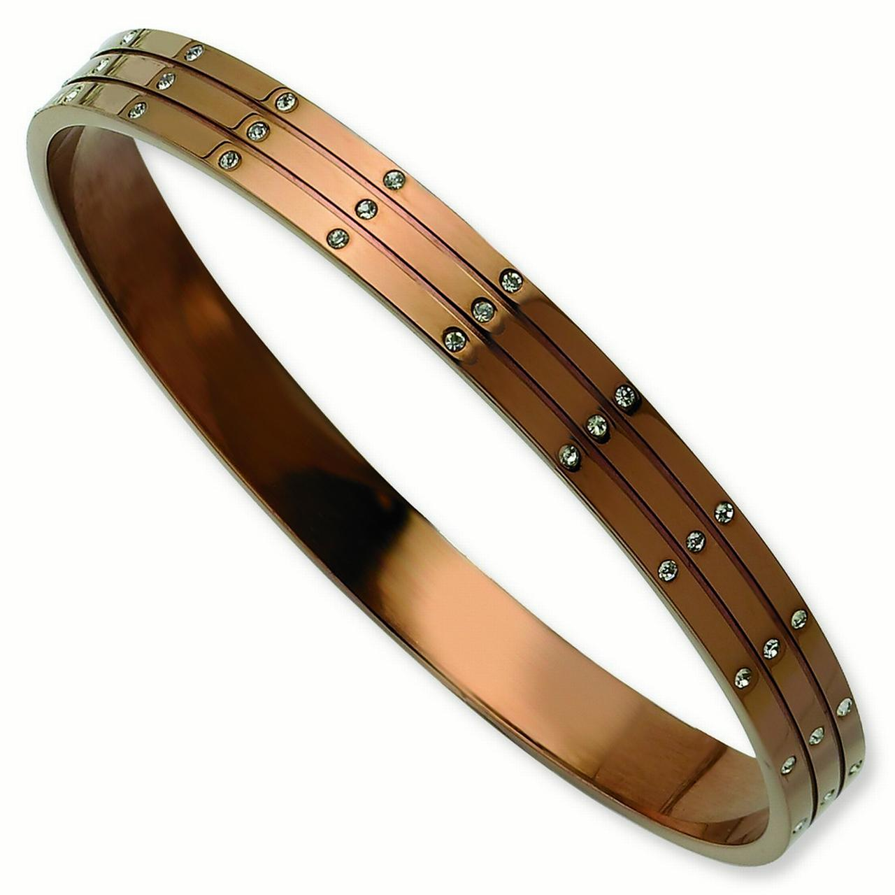 Stainless Steel Polished Brown Plated With Cubic Zirconias Bangle Bracelet