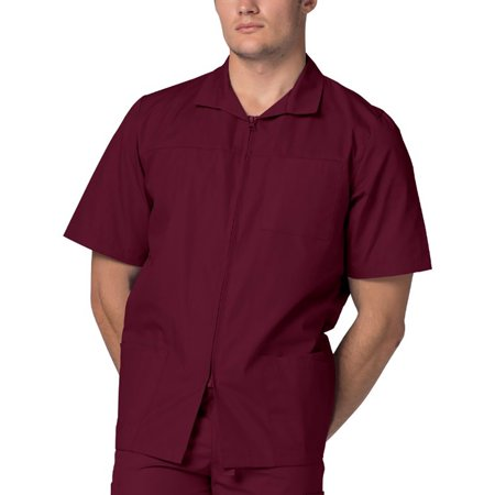 Adar Universal Men's Zippered Short Sleeve Jacket (Available in 7 colors) - 607 - Burgundy - L Short Sleeve Terry Jacket