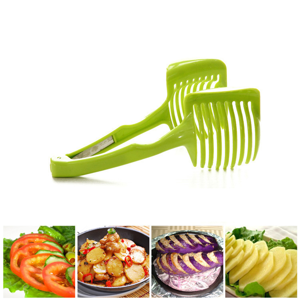 Tomato Slicer Clamp Universal Slicer Lemon Slicer Divider Clip Onion Slicer Holder Food Clip Fruit Vegetable Tools Kitchen Utensil (Green)