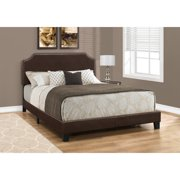 BED - QUEEN SIZE/DARK BROWN LEATHER-LOOK WITH BRASS TRIM