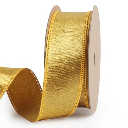 LaRibbons 1'' Artificial Silk Ribbon Gold 10 Yard Spool