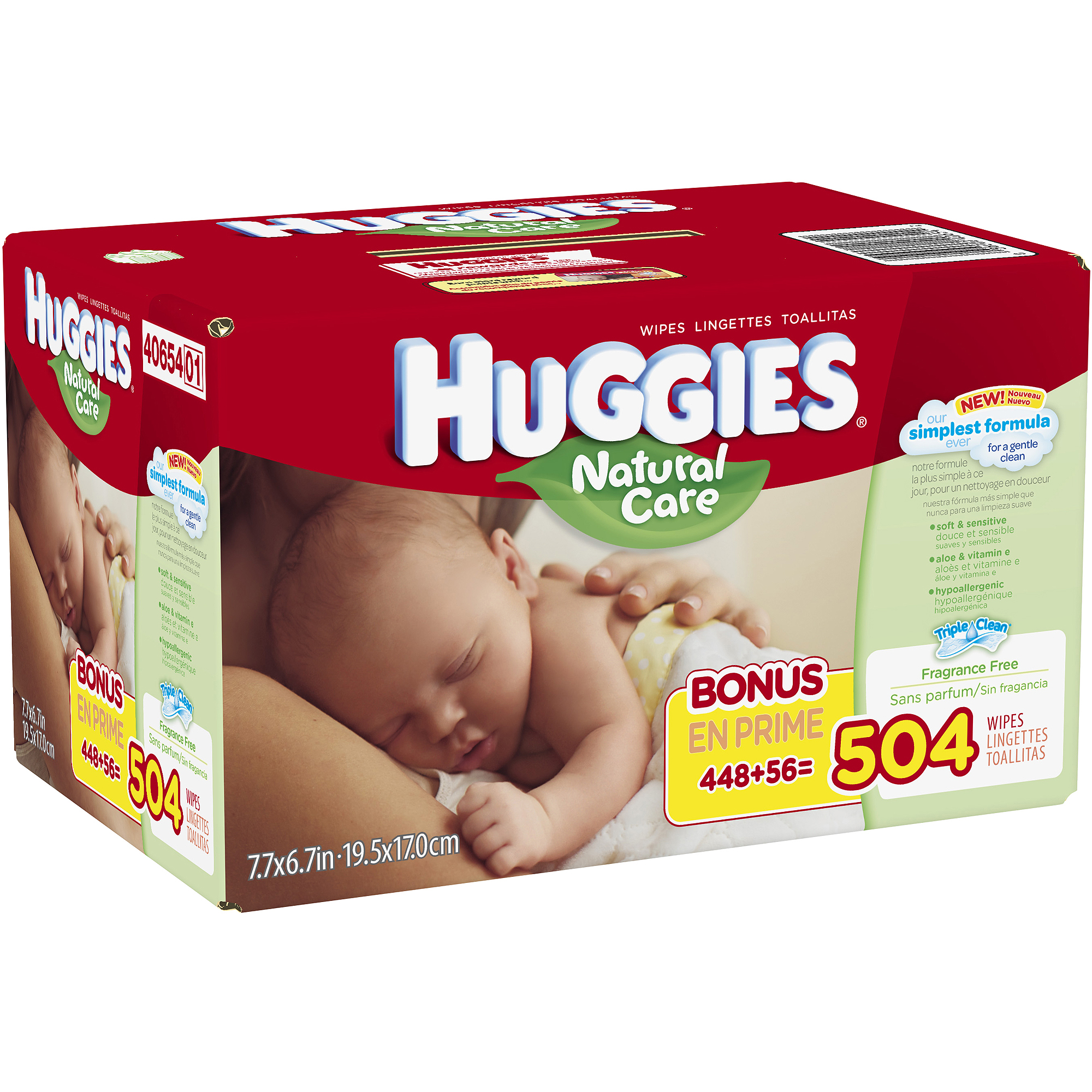 HUGGIES Natural Care Baby Wipes Refill, 504 sheets