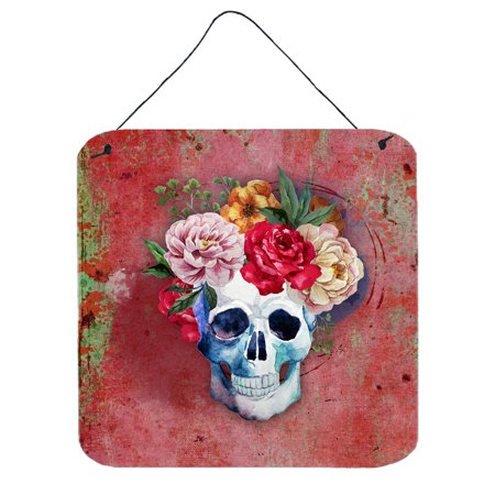 Day of the Dead Red Flowers Skull  Wall or Door Hanging Prints BB5130DS66](Day Of The Dead Hair Flowers)