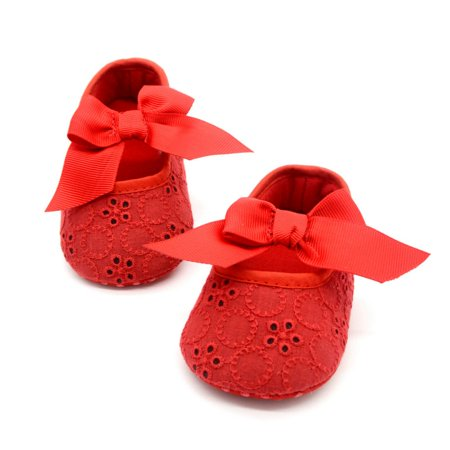 Newborn Toddler Baby Girls Bowknot Floral Princess Shoes Soft Sole for 0-18M