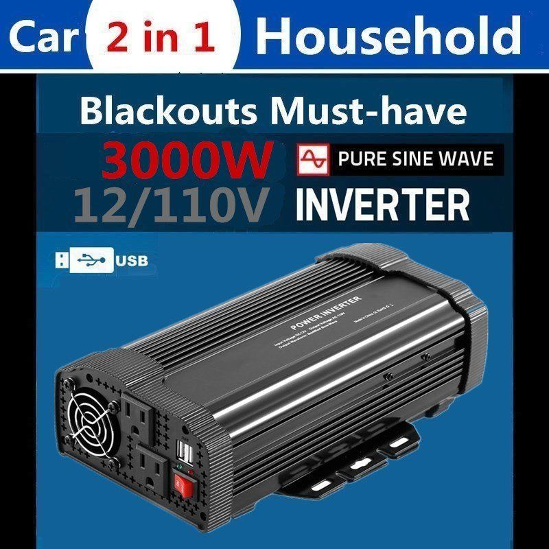3000W High Power Car Power Inverter DC12V to AC110V Solar