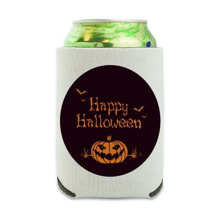 Happy Halloween Holiday Pumpkin Jack-o-lantern Bats Can Cooler - Drink Sleeve Hugger Collapsible Insulator - Beverage Insulated Holder