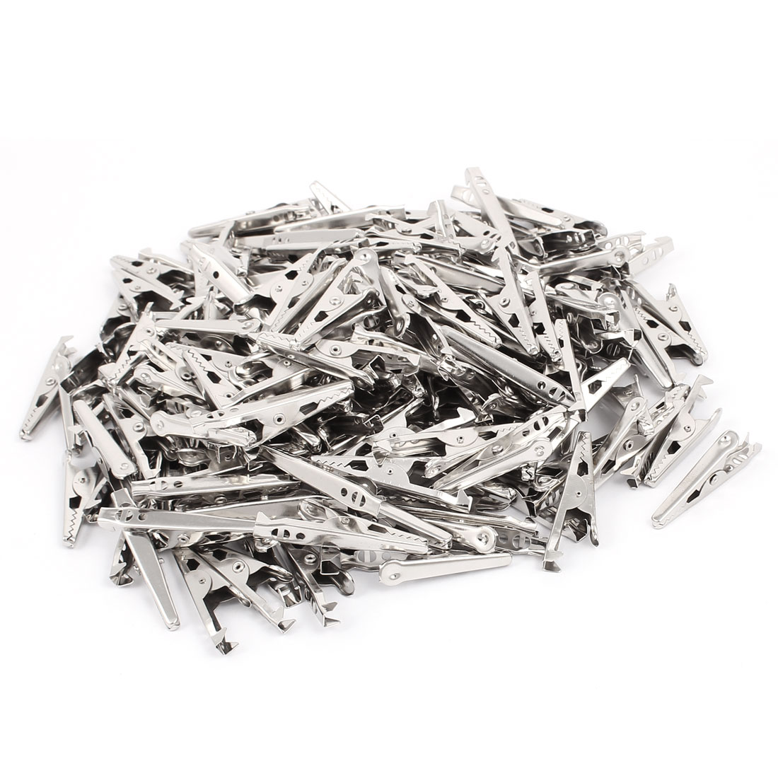 Metal Hooked Fixation Alligator Crocodile Clip Clamp Silver Tone 180 Pcs
