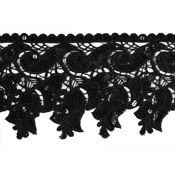 Expo Int'l Scroll Rosebuds Venice Lace with Sequin Trim by the yard