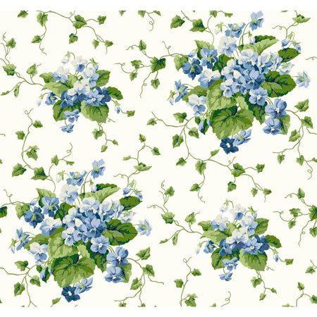 York Wallcoverings Waverly Cottage ER8103 Sweet Violets Wallpaper, White / Cream / Green /