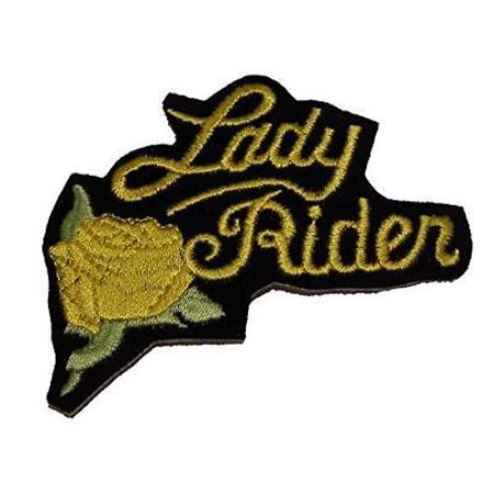 LADY RIDER PATCH W/ YELLOW ROSE BIKER MOTORCYCLE MC VEST CUT WOMAN (Rider Biker Vest)