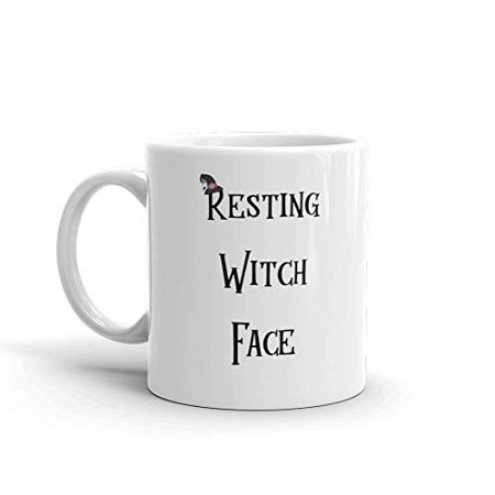 Resting Witch Face Halloween Funny Novelty Humor 11oz White Ceramic Glass Coffee Tea Mug Cup (Funny Halloween Poems Witches)