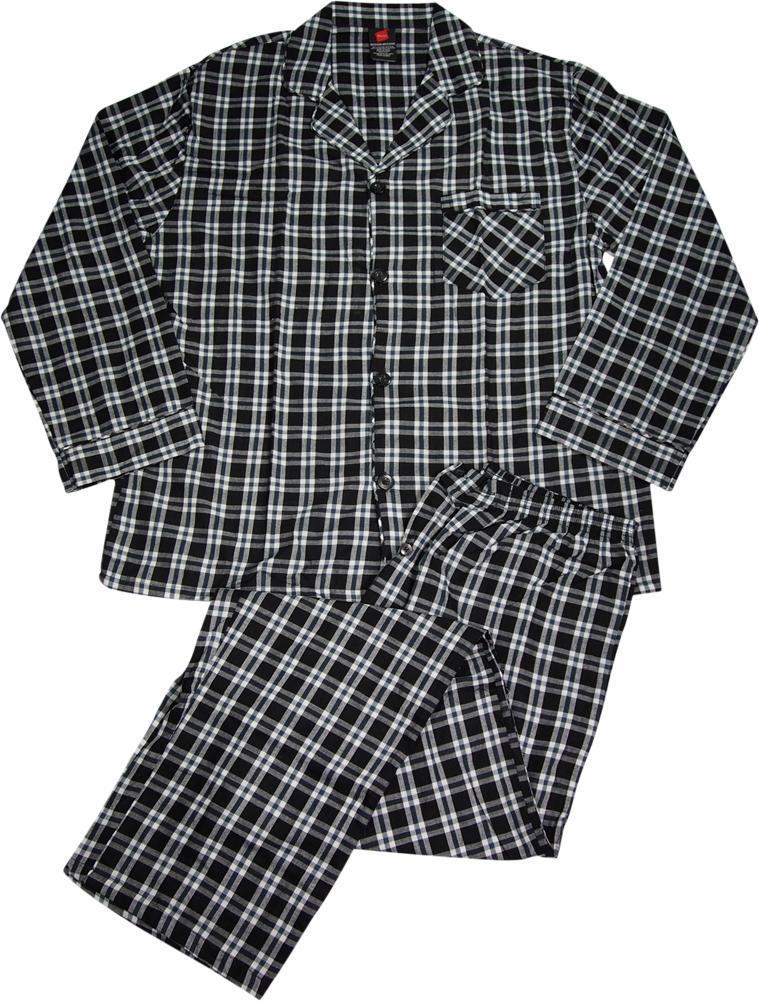 L Hanes Woven Pajama Set Long Sleeve Long Pant Black With Grey Plaid S XL 2XL