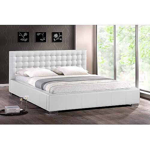 Baxton Studio Madison Queen Modern Platform Bed with Tufted Headboard, White