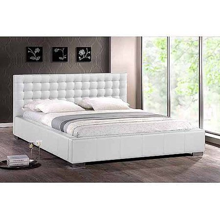Baxton Studio Madison Queen Modern Platform Bed with Tufted Headboard, White - Baxton Studio Madison Queen Modern Platform Bed With Tufted