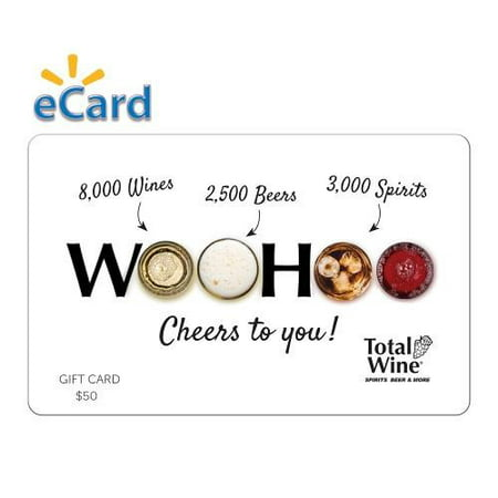 Total Wine $50 Gift Card (Email Delivery) Total Wine & More is Americas largest independent retailer of fine wine, beer and spirits with over 190+ stores in 22 states, and growing. With 8,000 wines, 3,000 Spirits and 2,500 beers combined with everyday low prices and expertly trained wine associates, Total Wine & More provides a unique shopping experience. Since opening its first store in 1991, Total Wine & More has been committed to being the premier wine, spirits & beer retailer in every community that it serves.