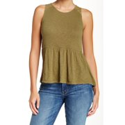 Wild Pearl NEW Green Size Small S Junior Peplum Lace-Back Solid Blouse