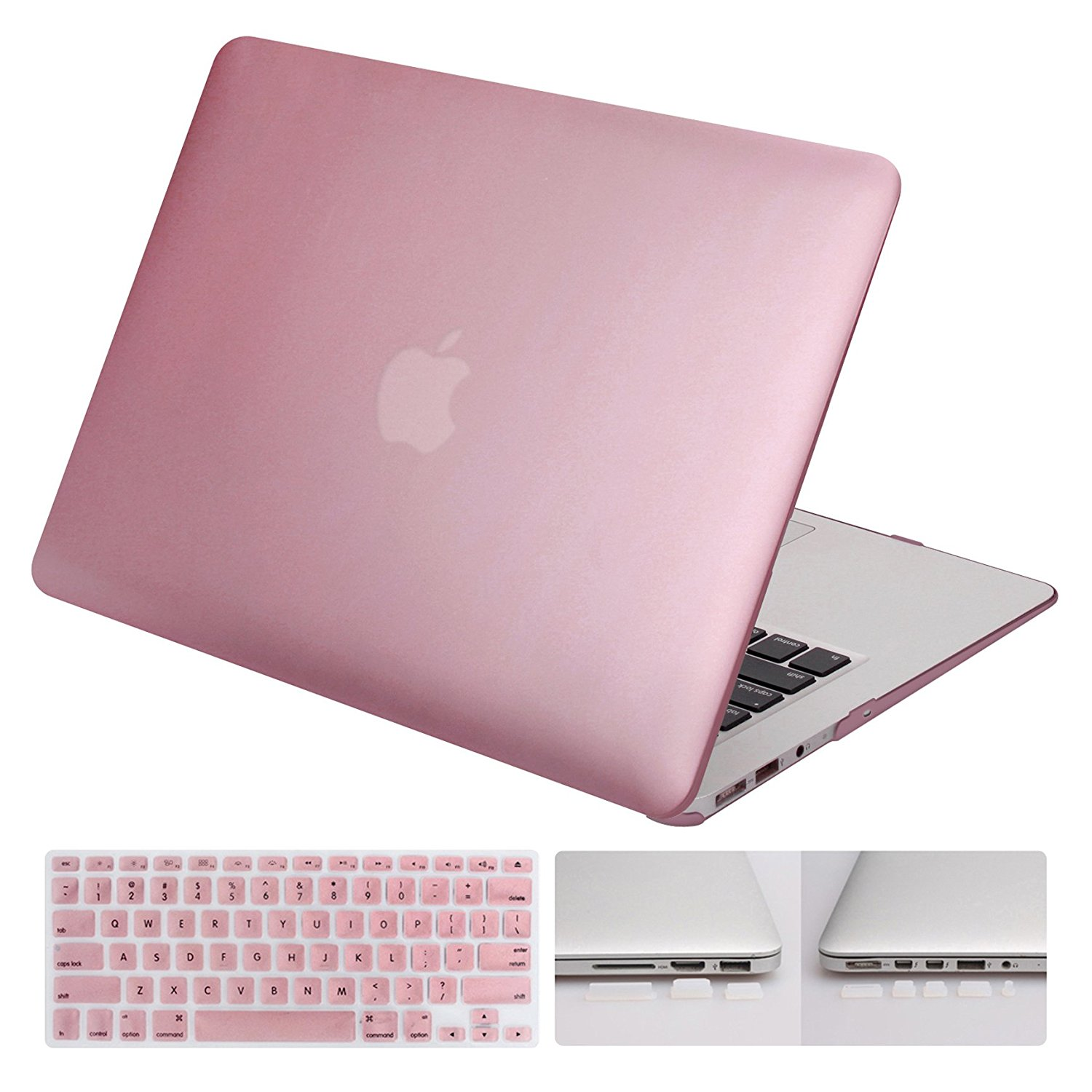 MacBook Air 13 Inch Case with Keyboard Cover and Dust Plug for Apple Macbook Air 13 Inch Sleeve Model A1369 and A1466 - Rose Gold