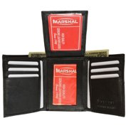 Mens Flap Up ID Trifold Genuine Leather Wallet 1755 (C) Black