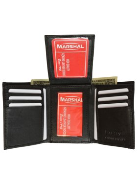 8554ce880ac8 Product Image Mens Flap Up ID Trifold Genuine Leather Wallet 1755 (C) Black