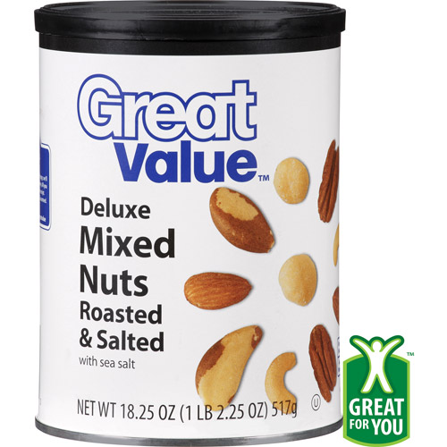 Great Value Deluxe Roasted & Salted Mixed Nuts, 18.25 oz