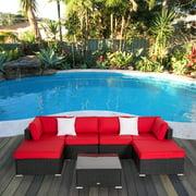 Kinbor 7pcs Outdoor Patio Furniture Sectionals Wicker Rattan Sofa Ottoman