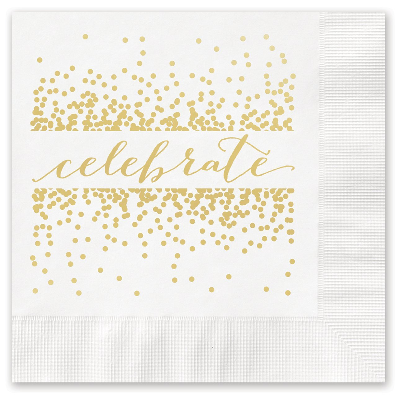 Celebrate with Confetti Beverage Cocktail Napkins 25 Foil Printed Paper Napkins by