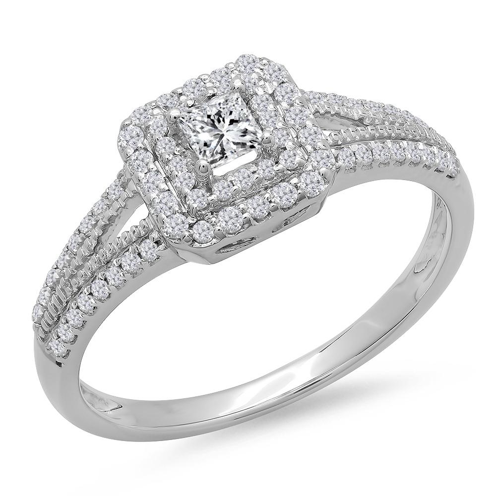 0.50 Carat (ctw) 14K Gold Princess & Round Cut Diamond Ladies Bridal Halo Engagement Ring 1/2 CT