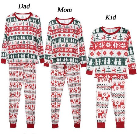 Dad Mom Baby Kids Reindeer Print Family Matching Clothes Long Sleeve and Pants Christmas Pajamas - Adult Reindeer Pajamas