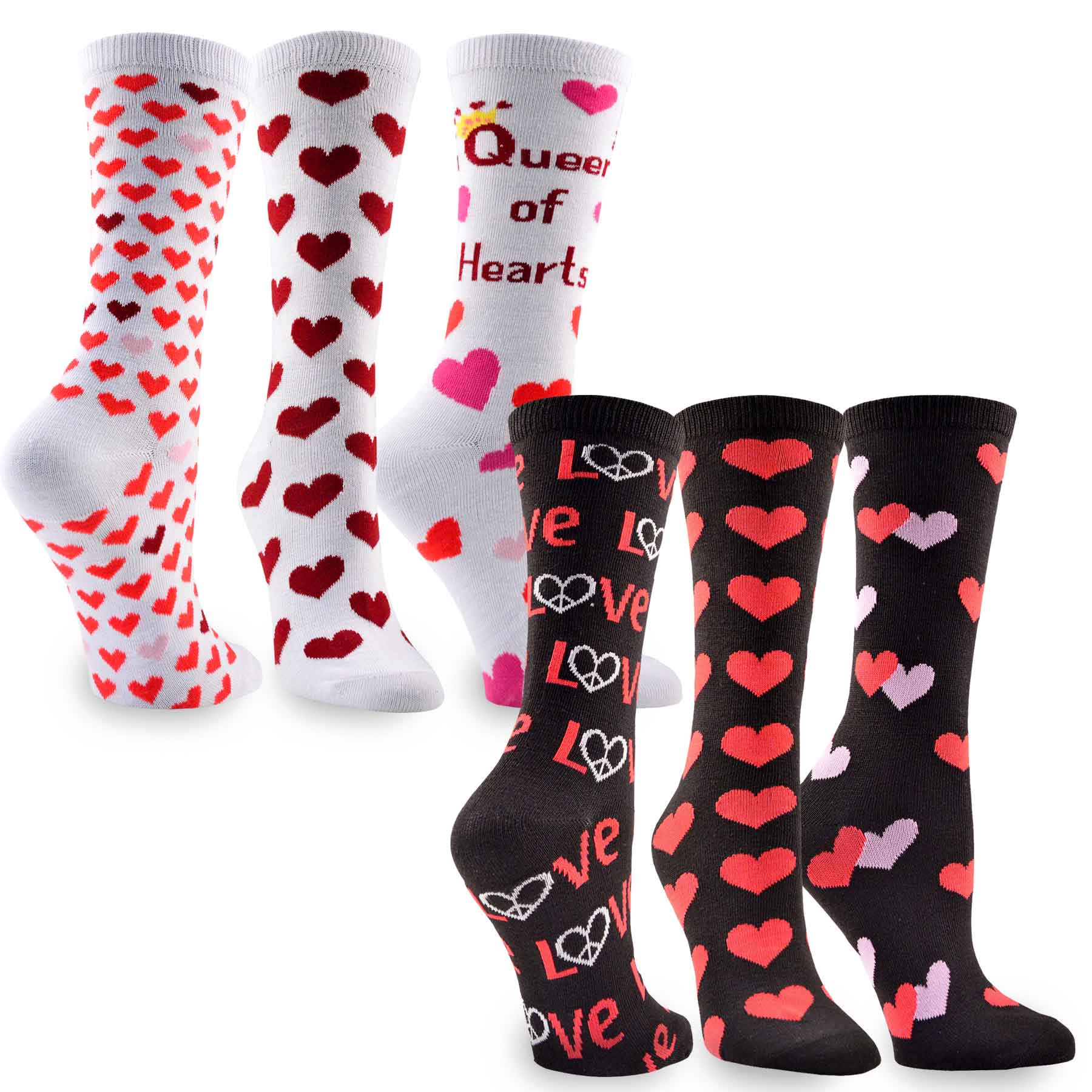 TeeHee Valentine's Day Hearts Love Women's Asst Crew Socks 6-Pk, Black White