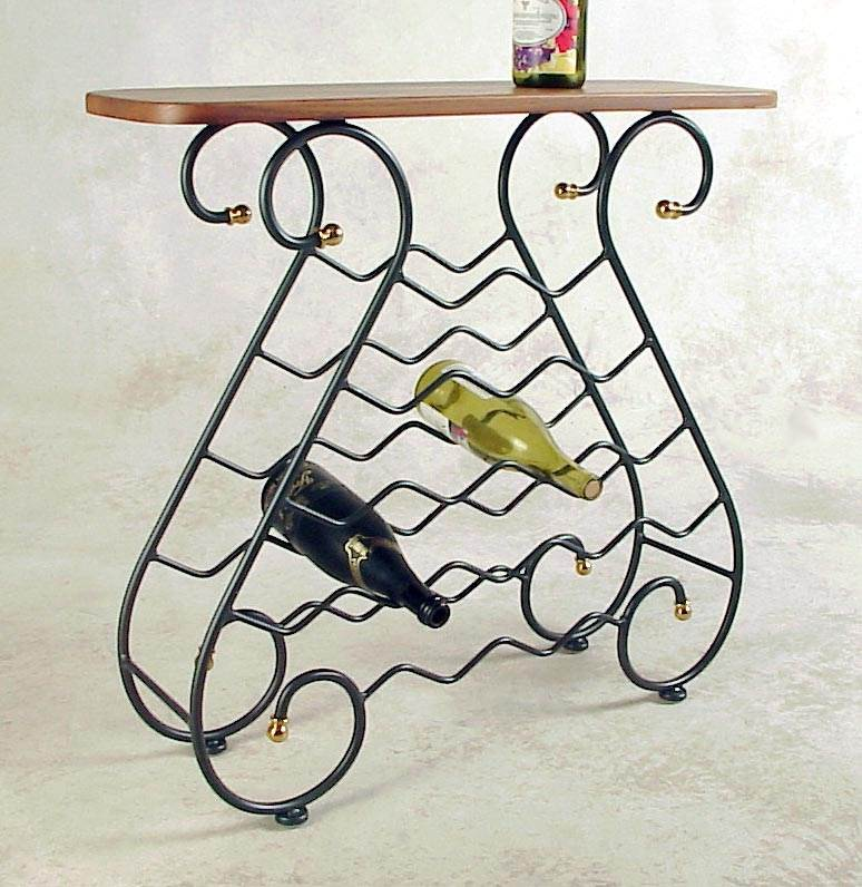 Grace 16 Bottle Wine Rack w Wood Top (Without Brass, Aged Iron)