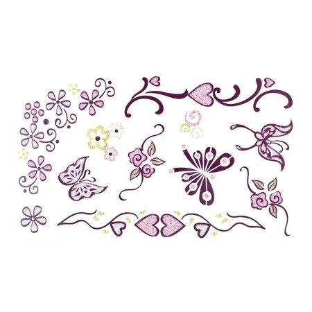Flower Butterfly Pattern Removable Body Decor Sticker Temporary Tattoo Sheet - Tiger Butterfly Tattoo