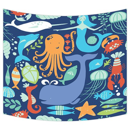 Fish Decor For Walls (ZKGK Underwater World Sea Life Ocean Animals Fish Coral Tapestry Wall Hanging Wall Decor Art for Living Room Bedroom Dorm Cotton Linen Decoration 51x60)