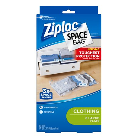 Ziploc Space Bags, Large Flat, 6 count