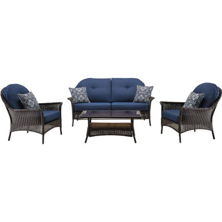 Hanover Sun Porch 4-Piece Resin Lounge Set with Handwoven Loveseat, 2 Armchairs, Coffee Table, and Plush Navy Blue Cushions