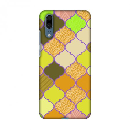 Huawei P20 Case - Stained glass- Chocolate orange, Hard Plastic Back Cover, Slim Profile Cute Printed Designer Snap on Case with Screen Cleaning Kit ()