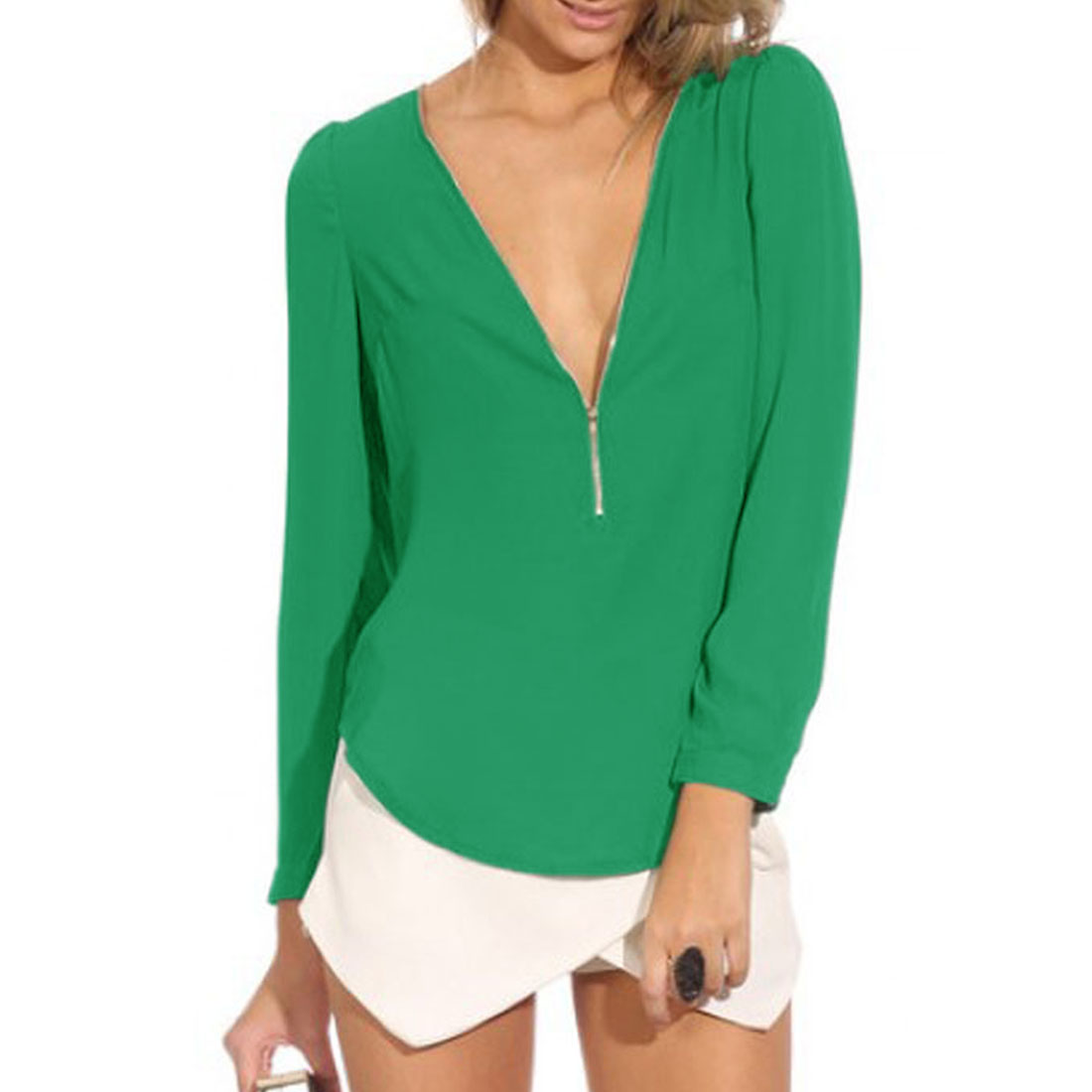 Women V Neck Half Zip Closure Long Sleeve Leisure Chiffon Top Green XS
